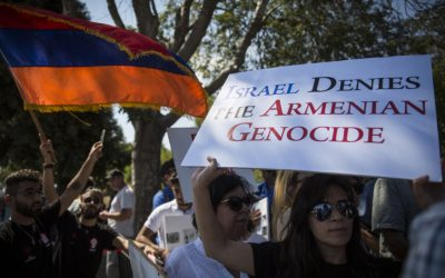Members of the Jerusalem Armenian community protest outside the Knesset following the Israeli government's recent diplomatic agreement with Turkey, demanding that the State of Israel finally recognize the Armenian Genocide (Hadas Parush/Flash90)