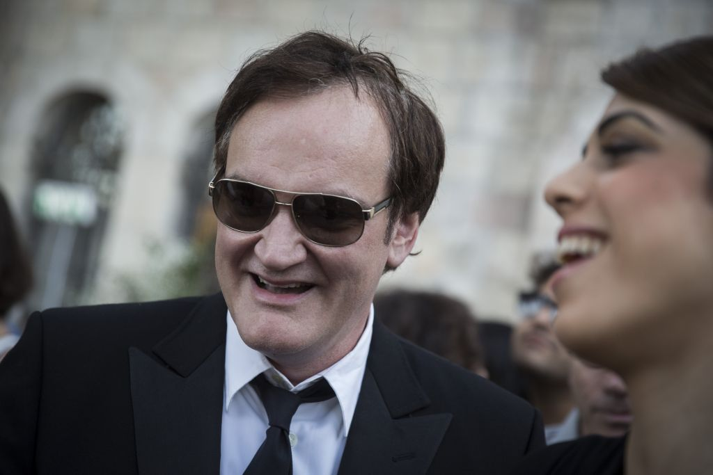 Director Quentin Tarantino and his Israeli girlfriend, Daniella Peek, at a reception before the opening night ceremony of the 33rd Jerusalem Film Festival on July 8, 2016 (Hadas Parush/Flash 90)