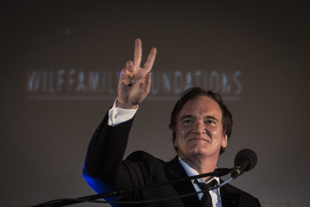 American filmmaker Quentin Tarantino speaks after receiving an award at the opening night of the Jerusalem Film Festival held at Sultan's Pool near the Old City of Jerusalem, on July 7, 2016. (Hadas Parush/Flash90)