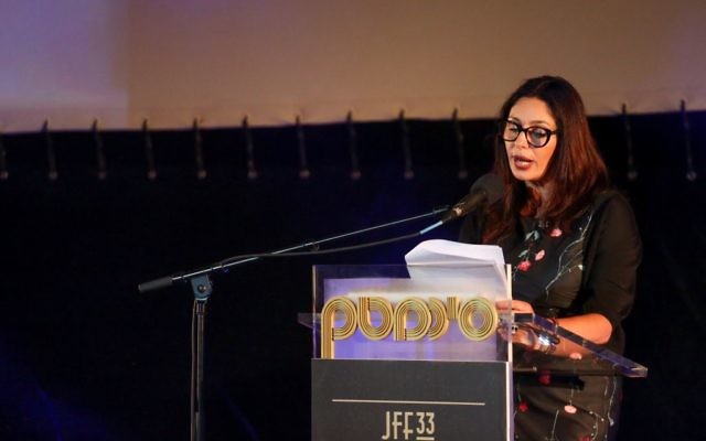 Culture Minister Miri Regev speaks to a crowd at the Jerusalem Film Festival on July 8, 2016, and receives boos in return (Miriam Alster/Flash 90)