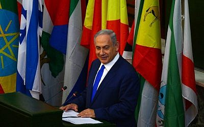 Prime Minister Benjamin Netanyahu addresses the Ethiopian parliament in Addis Ababa, on July 7, 2016. (Kobi Gideon/GPO)
