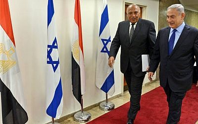 Prime Minister Benjamin Netanyahu meets with Egypt's Foreign Minister Sameh Shoukry at the Prime Minister's Office in Jerusalem, on July 10, 2016 (Haim Zach/GPO)