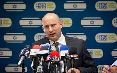 Jewish Home party leader Naftali Bennett leads a faction meeting on July 11, 2016. (Miriam Alster/FLASH90)