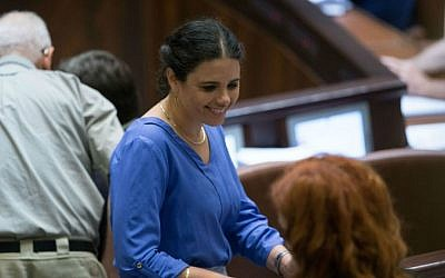 Justice Minister Ayelet Shaked in the Knesset plenum, July 11, 2016. (Yonatan Sindel/Flash90)