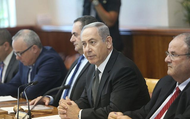 Israeli Prime Minister Benjamin Netanyahu leads the weekly government meeting in Jerusalem on July 17, 2016. (Alex Kolomoisky/POOL)