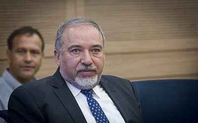 Defense Minister Avigdor Liberman attends a security discussion at the Security and Foreign Affairs Committee at the Knesset, on July 18, 2016. (Miriam Alster/Flash90)