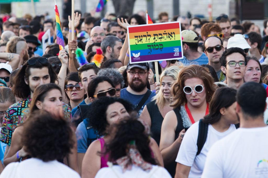 The annual gay pride parade in central Jerusalem on July 21, 2016 (Nati Shohat/Flash90)