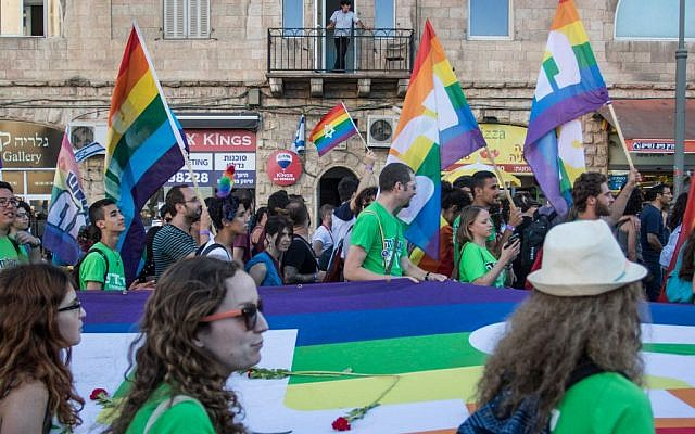 The annual pride parade in Jerusalem, attended by more than 25,000, on July 21, 2016. The parade marked a year since the stabbing and murder of Shira Banky during last year's pride parade. (Zack Wajsgras/Flash90)