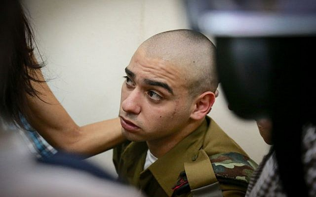 Sgt. Elor Azaria, the IDF soldier who shot an incapacitated Palestinian terrorist in Hebron, seen at the military court in Jaffa, July 24, 2016. (Flash90)