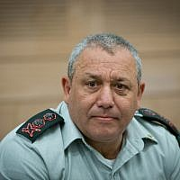 IDF Chief of Staff Gadi Eizenkott attends a Foreign Affairs and Defense Committee meeting at the Knesset in Jerusalem on July 26, 2016.  (Yonatan Sindel/Flash90)