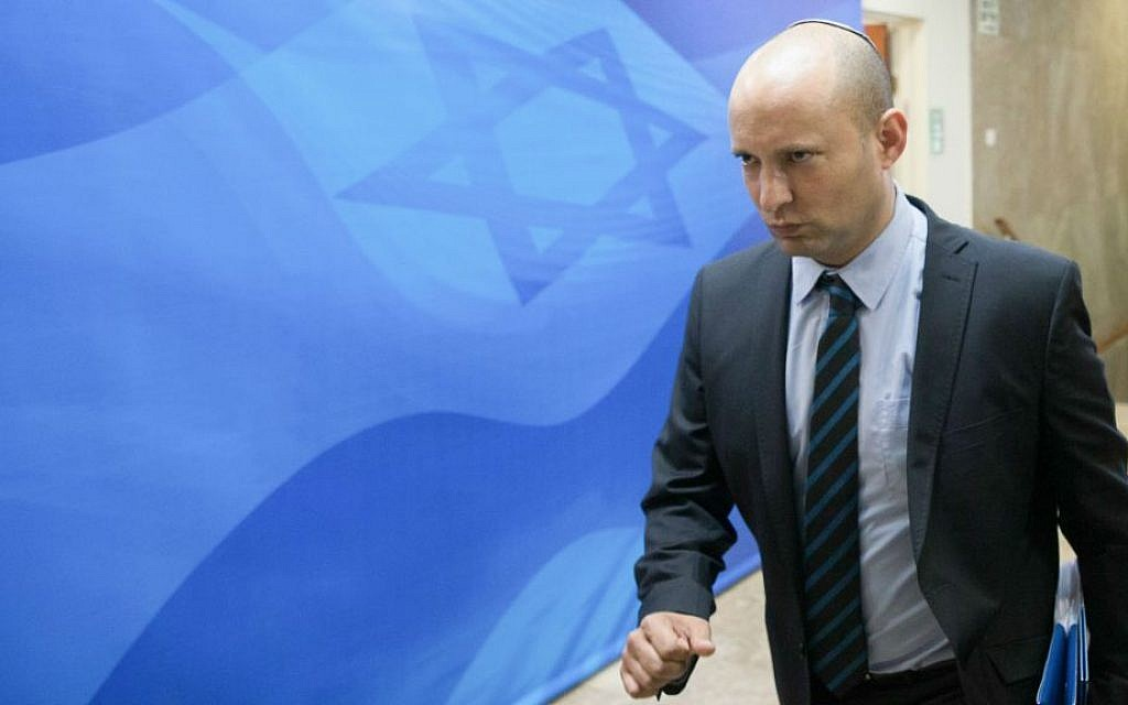 Education Minister Naftali Bennett arrives at the weekly cabinet meeting at the Prime Minister's Office in Jerusalem on July 31, 2016. (Ohad Zwigenberg/Pool/Flash90)