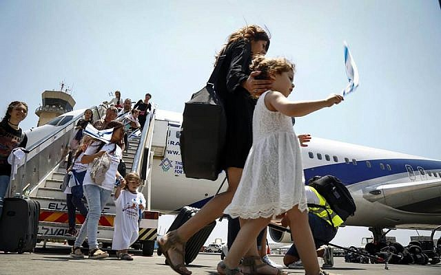 Illustrative: More than 200 French Jews immigrated to Israel aboard a special Jewish Agency Aliyah flight, July 20, 2016. (Nir Kafri for The Jewish Agency for Israel)