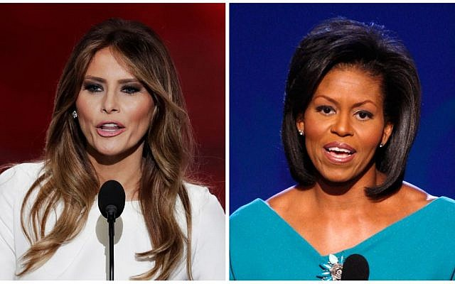 Melania Trump, wife of Republican Presidential Candidate Donald Trump, speaks during the opening day of the Republican National Convention in Cleveland, July 18, 2016, and Michelle Obama, wife of Democratic presidential candidate, Barack Obama, speaks at the Democratic National Convention in Denver, August 25, 2008. (AP Photos)