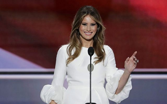 Melania Trump, wife of Republican presidential candidate Donald Trump, speaks during the opening day of the Republican National Convention in Cleveland, Ohio, Monday, July 18, 2016. (AP Photo/J. Scott Applewhite)