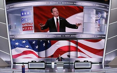 Rein Priebus, Chairman of the Republican National Committee, announces the rules of the convention during the opening day of the Republican National Convention in Cleveland, Monday, July 18, 2016. (AP Photo/J. Scott Applewhite)