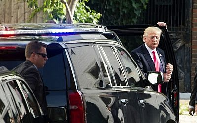 Republican US presidential candidate Donald Trump arrives to meet with Republican House members at the Capitol Hill Club in Washington, July 7, 2016. (AP/Cliff Owen)