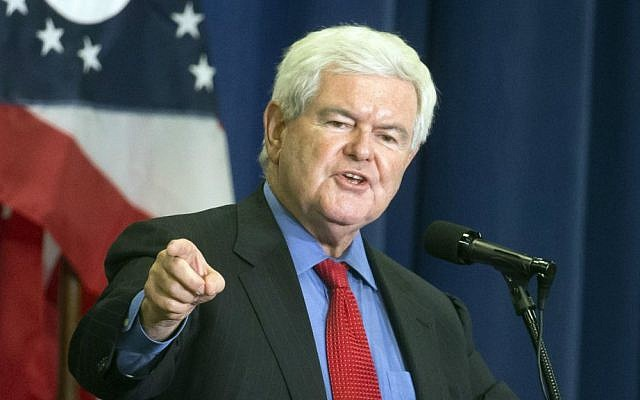 Former House speaker Newt Gingrich speaks before introducing Republican presidential candidate Donald Trump during a campaign rally at the Sharonville Convention Center in Cincinnati, Ohio, July 6, 2016. (AP Photo/John Minchillo)