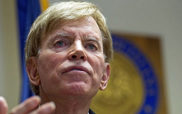 In this July 22, 2016 photo, former Ku Klux Klan leader David Duke talks to the media at the Louisiana Secretary of State's office in Baton Rouge, Louisiana. (AP Photo/Max Becherer)