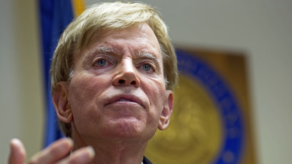 In this July 22, 2016, photo, former Ku Klux Klan leader David Duke talks to the media at the Louisiana Secretary of State's office in Baton Rouge, Louisiana. (AP Photo/Max Becherer)