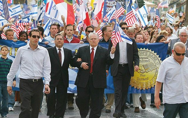 File: Pastor John Hagee of Christians United for Israel leads a solidarity march in Jerusalem. (CUFI)
