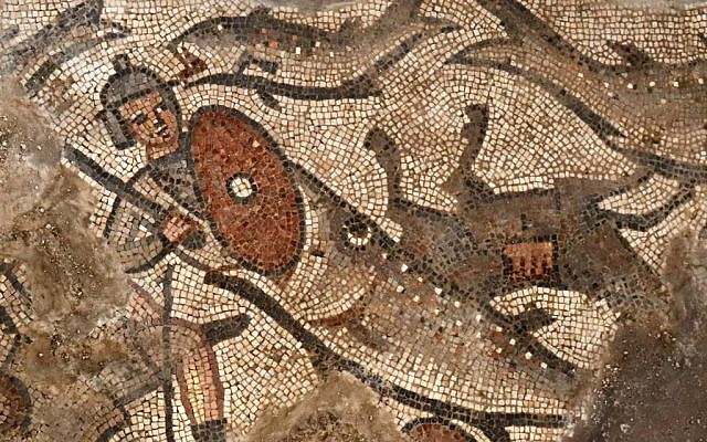 A fish swallows an Egyptian soldier in a mosaic scene depicting the splitting of the Red Sea from the Exodus story, from the 5th-century synagogue at Huqoq, in northern Israel. (Jim Haberman/University of North Carolina Chapel Hill)