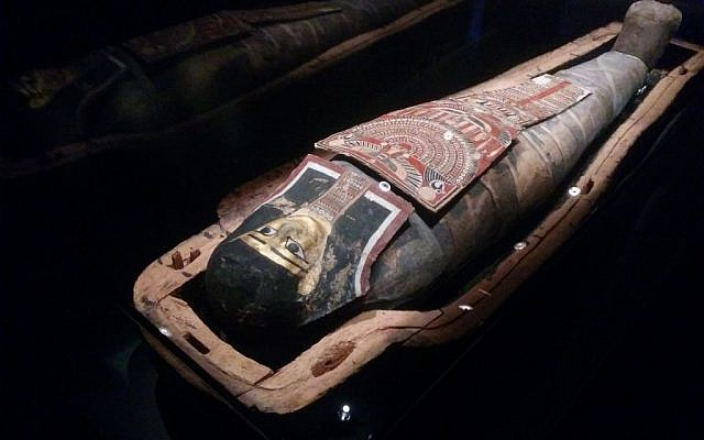 Israel's only Egyptian mummy goes on display at the Israel Museum on July 25, 2016. (Ilan Ben Zion/Times of Israel staff)