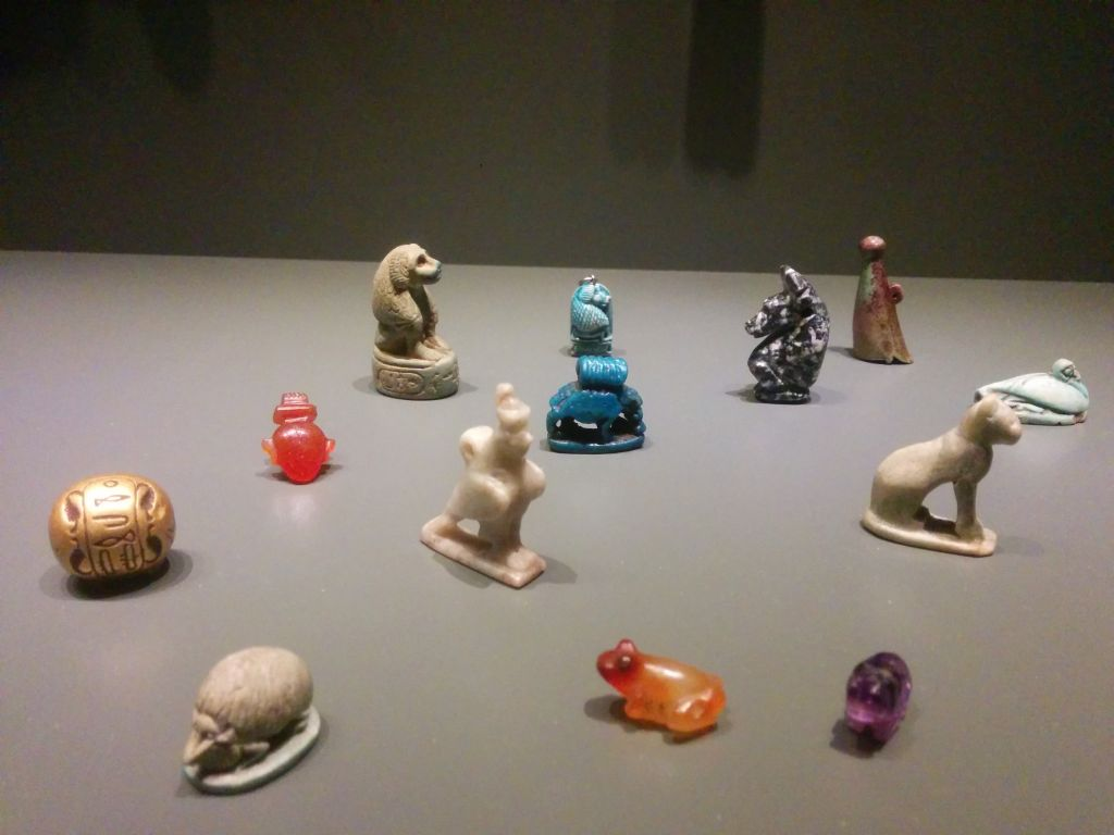 Ancient Egyptian amulets to protect the dead, part of a display at the Israel Museum on July 25, 2016. (Ilan Ben Zion/Times of Israel staff)