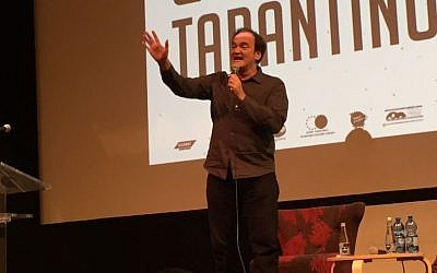 Quentin Tarantino speaks to an audience at the Jerusalem Film Festival on July 8, 2016 (David Horovitz/Times of Israel)