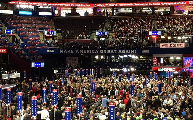 The RNC convention floor Quicken Loans Arena in downtown Cleveland (Eric Cortellessa, Times of Israel)