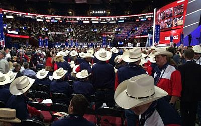 Republican National Convention delegates on opening night, Cleveland, Ohio, July 18, 2016. (Eric Cortellessa/Times of Israel)