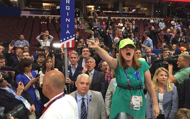 A delegate at the 2016 Republican National Convention demands a rules change to strip Donald Trump of the party's nomination (Eric Cortellessa/Times of Israel)