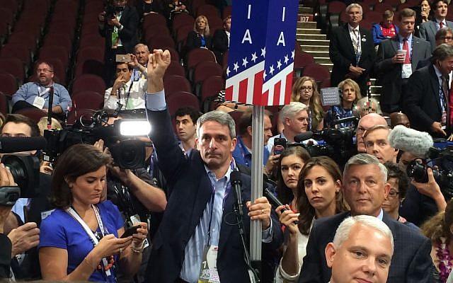 Former Va. Attorney General Ken Cuccinelli attempts to derail Donald Trump's nomination on the convention floor (Eric Cortellessa/Times of Israel)