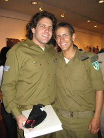 Staff Sgt. Steven Wainland, left, poses with a friend after the Second Lebanon War. (courtesy)