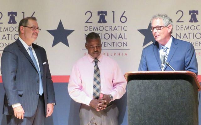 Rabbi Jack Moline, right, joins Rev. James Forbes, left, and Imam Suetwedien Muhammad at an interfaith gathering on Sunday, July 23, 2016 on the eve of the Democratic National Convention in Philadelphia. (Ron Kampeas)