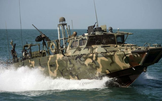 In this Oct. 26, 2015 photo provided by the US Navy, Riverine Command Boat (RCB) 802, assigned to Combined Task Group (CTG) 56.7, conducts patrol operations in the Persian Gulf. (Torrey W. Lee/US Navy via AP)