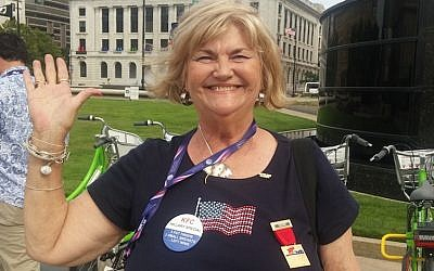 Judy Jackman, a member of Christians United for Israel from Texas, appreciates Donald Trump's honesty and outsider status. (Ben Sales)