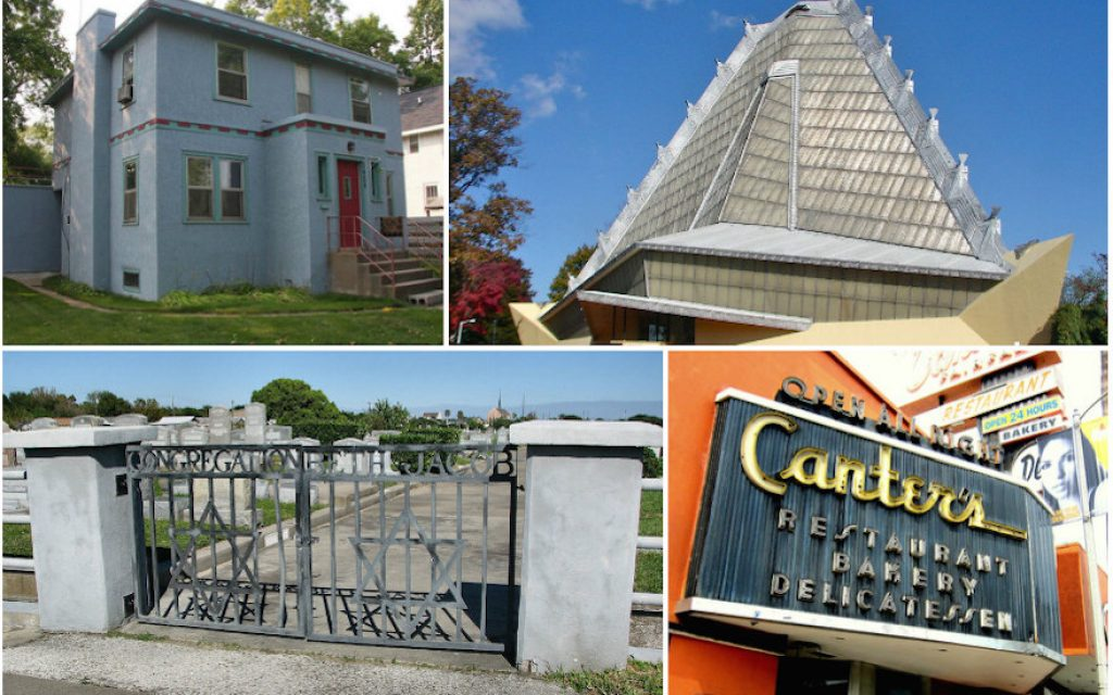 Clockwise, from top left: Bob Dylan's childhood home in Hibbing, Minnesota (Wikimedia Commons); Temple Beth Sholom in Elkins Park, Pennsylvania (Wikimedia Commons); Canter's Deli in Los Angeles (Flickr Commons); Beth Jacob Cemetery in Galveston, Texas (Wikimedia Commons) (Images via JTA)