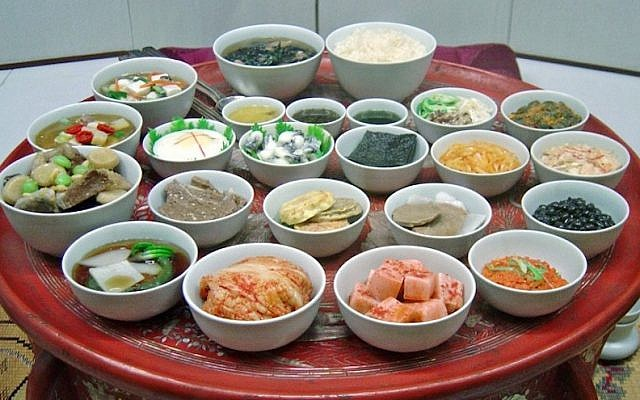 Hanjungsik is a traditional Korean meal with an array of dishes. (JTA/Wikimedia Commons)