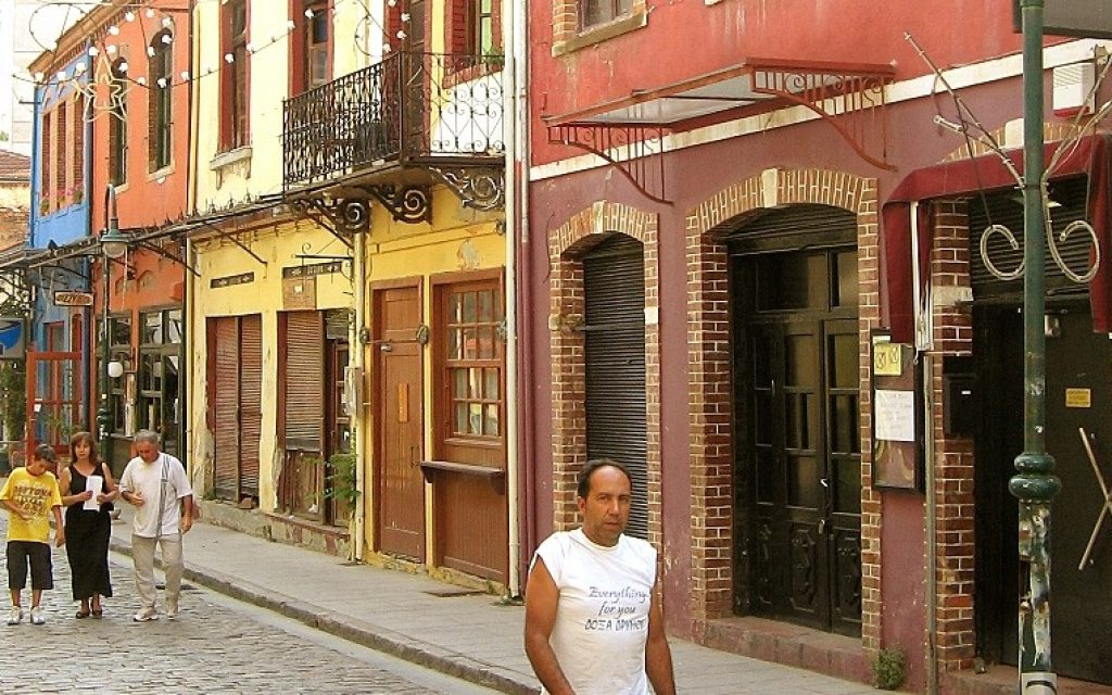 This August 22, 2006 photo shows a street in the Ladadika neighborhood, which used to be the Jewish quarter in Thessaloniki, Greece. (Wikimedia Commons)