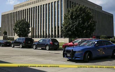 Police tape surrounds the Berrien County Courthouse on Monday, July 11, 2016 in St. Joseph, Michigan. (Chelsea Purgahn/Kalamazoo Gazette via AP)