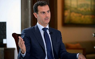 Syrian President Bashar Assad during an interview with American network NBC News, in Damascus, Syria, July 14, 2016. (SANA via AP)