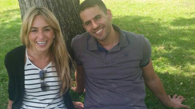 American immigrant Nicole and her Israeli fiancé Zohar (courtesy)