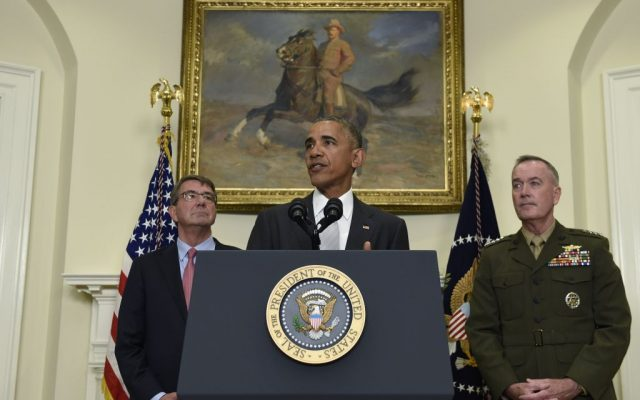 US President Barack Obama, flanked by Defense Secretary Ash Carter, left, and Joint Chiefs Chairman Gen. Joseph Dunford, makes a statement on Afghanistan from the Roosevelt Room of the White House in Washington, Wednesday, July 6, 2016. (Susan Walsh/AP Photo)