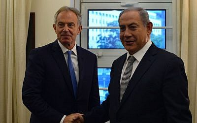File: Prime Minister Benjamin Netanyahu and former British PM Tony Blair meet in Jerusalem on Monday, July 11, 2016 (Kobi Gideon/GPO)