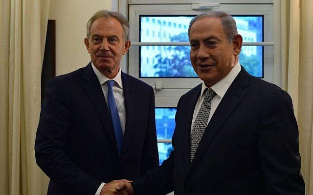 File: Prime Minister Benjamin Netanyahu and former British PM Tony Blair meet in Jerusalem on Monday, July 11, 2016 (Kobi Gideon/GPO)