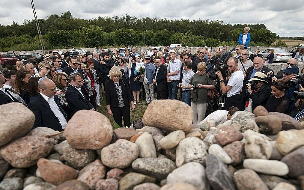 Jews from Poland and abroad gather for commemorations marking the 75th anniversary of a massacre of Jews in Jedwabne, Poland, on Sunday, July 10, 2016. (AP Photo/Michal Kosc)