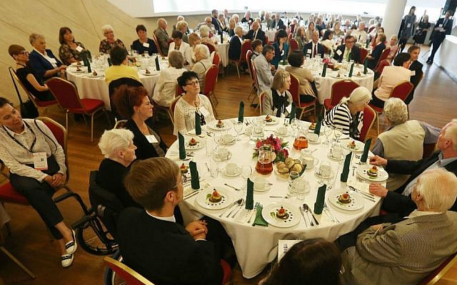 Christian Poles who saved Jews during the Holocaust attend a luncheon in Warsaw, Poland, Sunday, July 10, 2016. (AP Photo/Czarek Sokolowski)