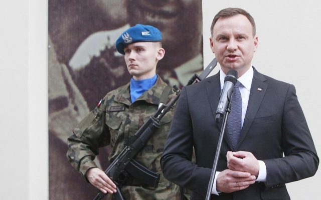Poland's President Andrzej Duda speaks during commemorations marking the 70th anniversary of a massacre of Jews in Kielce, Poland, Monday, July 4, 2016. (AP Photo/ Czarek Sokolowski)