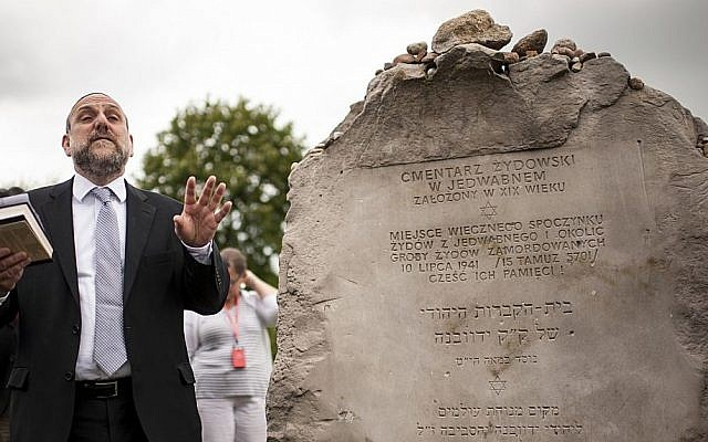 In this July 10, 2016, file photo, Poland's chief rabbi Michael Schudrich prays during commemorations marking the 75th anniversary of a massacre of Jews in Jedwabne, Poland. (AP/Michal Kosc)