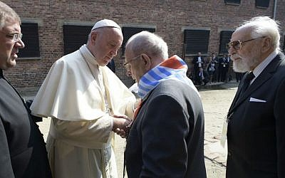 Pope Francis meets with camp survivors in the former Nazi German death camp of Auschwitz-Birkenau in Oswiecim, Poland, Friday, July 29, 2016. (L'Osservatore Romano /Pool Photo via AP)